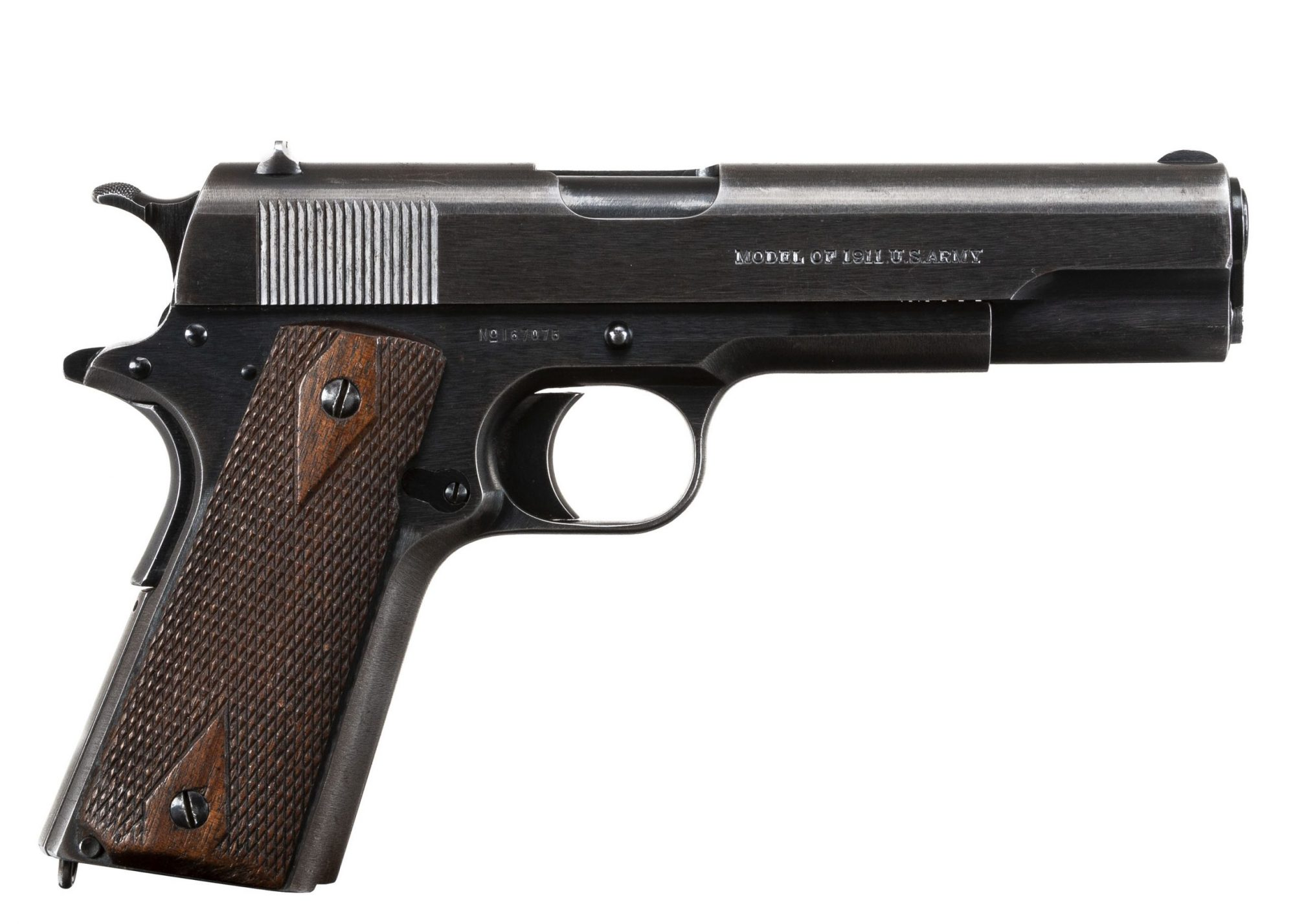 """Photo of a Colt Model 1911 from 1917 in original condition (with exception of newly-stamped """"United States Property"""" on left of frame, for sale by Turnbull Restoration of Bloomfield, NY"""
