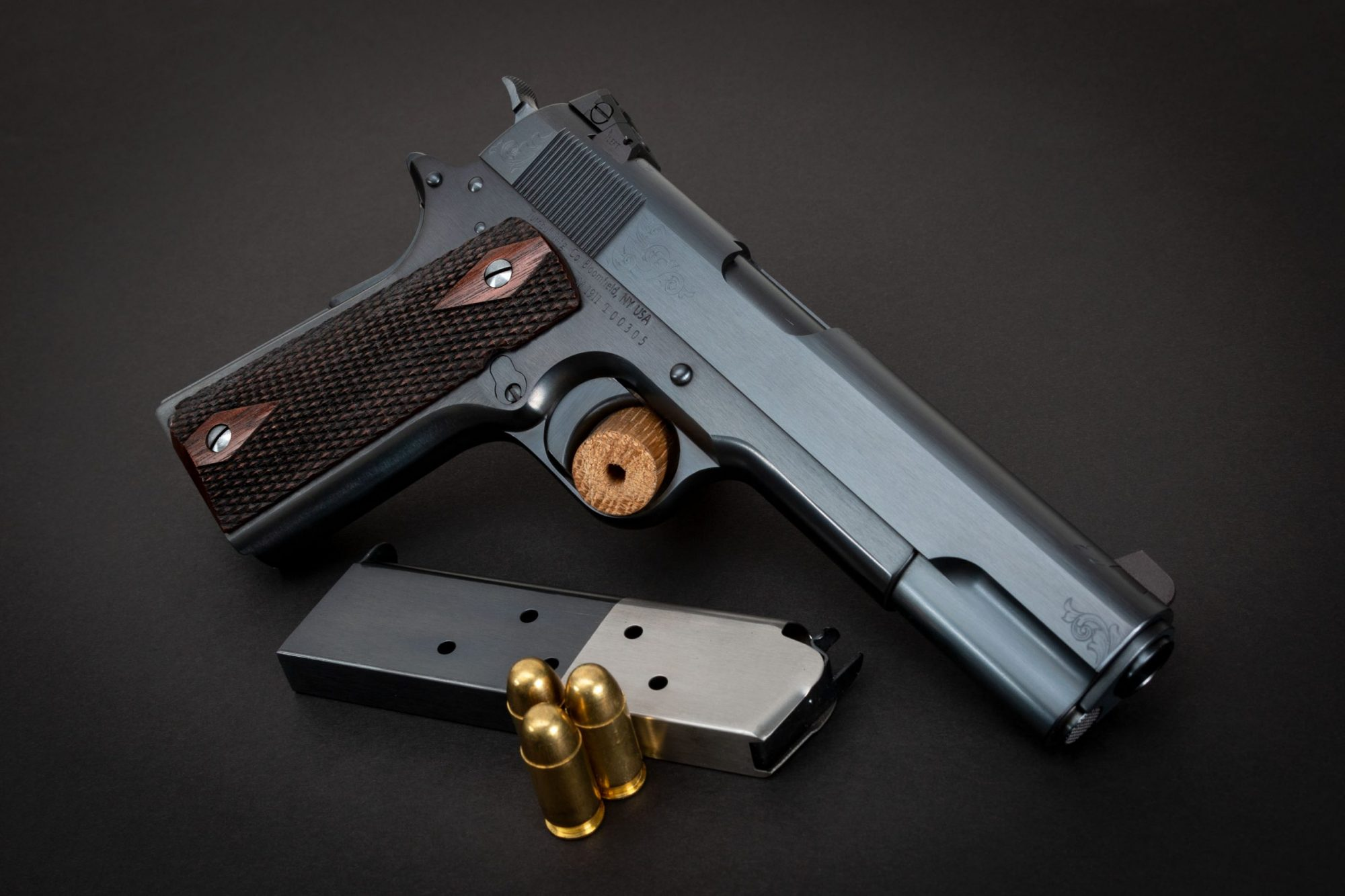 Photo of an engraved Turnbull Model 1911 Limited Edition, a WWI-era inspired 1911 built by Turnbull Restoration, who are the experts of classic Model 1911 restoration