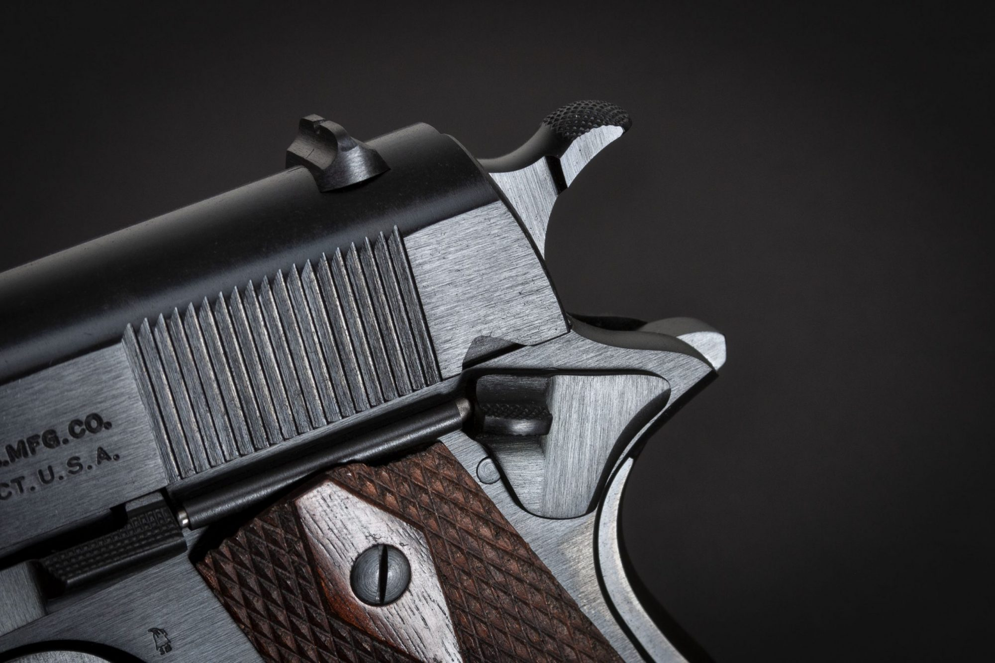 """Photo of a restored Colt Model of 1911 U.S. Army from 1918, with correct """"Black Army"""" finish. Restoration and finish work performed by Turnbull Restoration of Bloomfield, NY"""