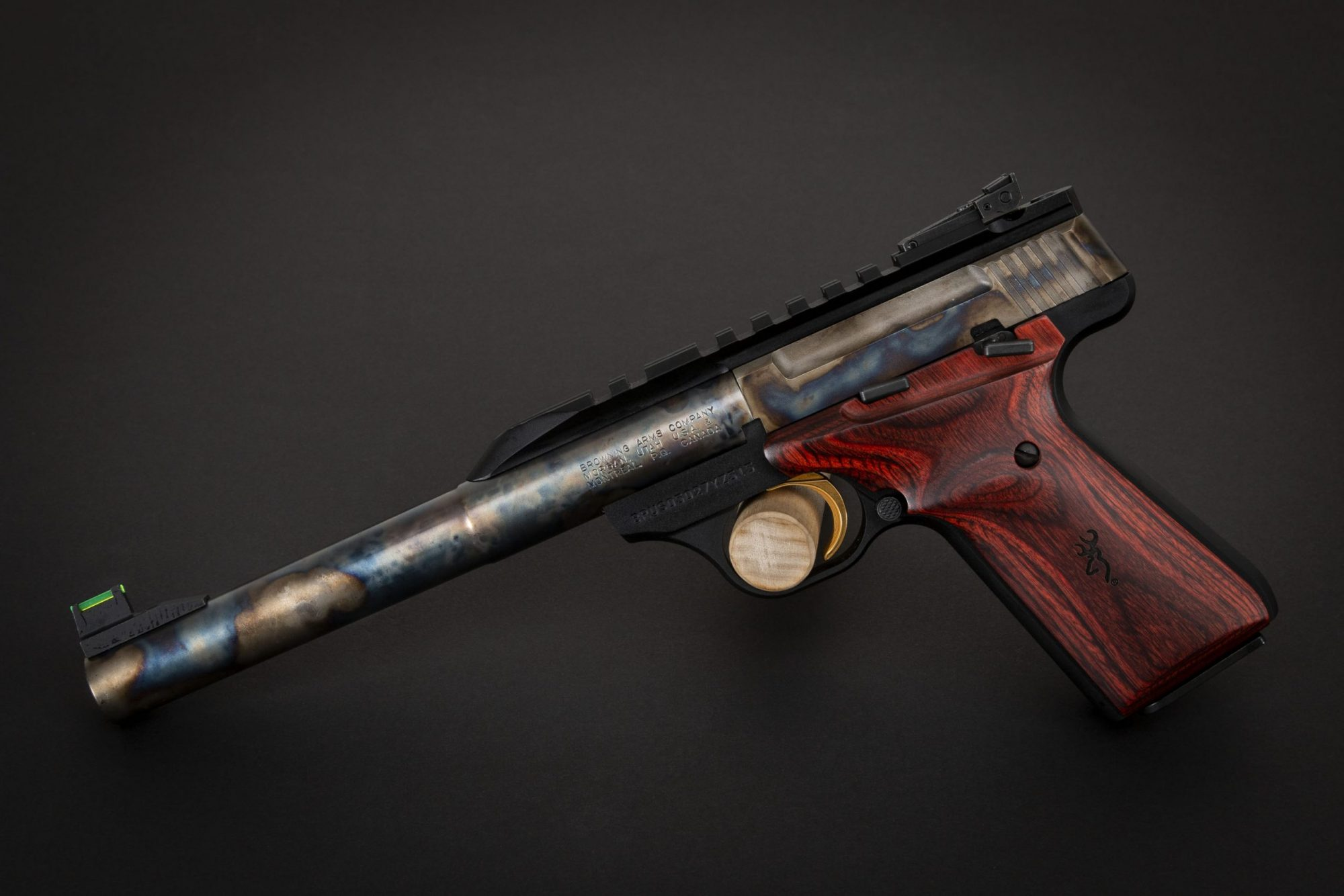 Photo of a color case hardened Browning Buck Mark Hunter pistol, featuring bone charcoal color case hardening by Turnbull Restoration of Bloomfield, NY