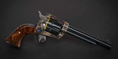Photo of a Ruger New Model Blackhawk single action revolver, featuring restoration-grade metal finishes by Turnbull Restoration of Bloomfield, NY