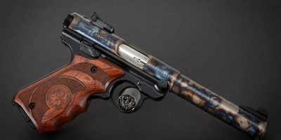 Photo of a color case hardened Ruger Mark IV Target pistol, featuring bone charcoal color case hardening by Turnbull Restoration of Bloomfield, NY