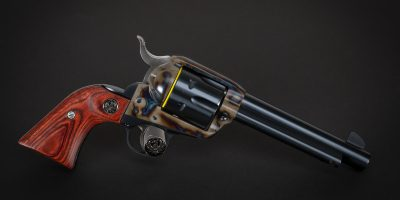 Photo of a Ruger New Vaquero single action revolver, featuring restoration-grade metal finishes by Turnbull Restoration of Bloomfield, NY