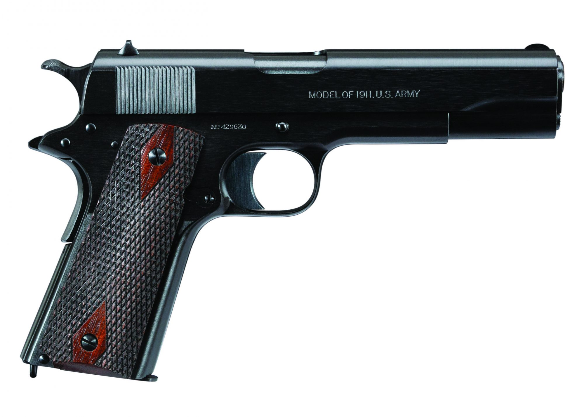 """Photo of a restored Colt Model 1911 in the 1918-correct """"Black Army"""" style, by Turnbull Restoration of Bloomfield, NY"""