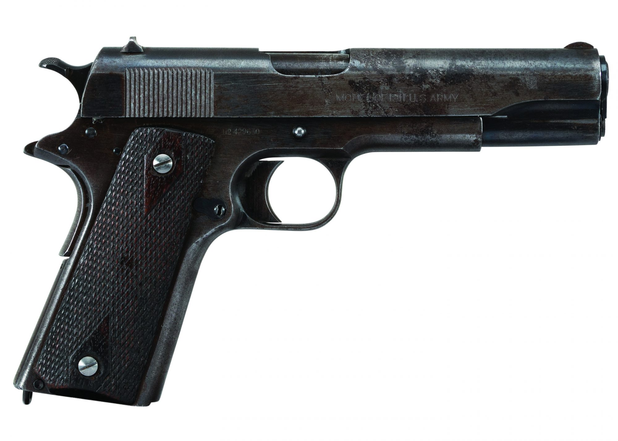 """Photo of a Colt Model 1911 before restoration in the 1918-correct """"Black Army"""" style, by Turnbull Restoration of Bloomfield, NY"""