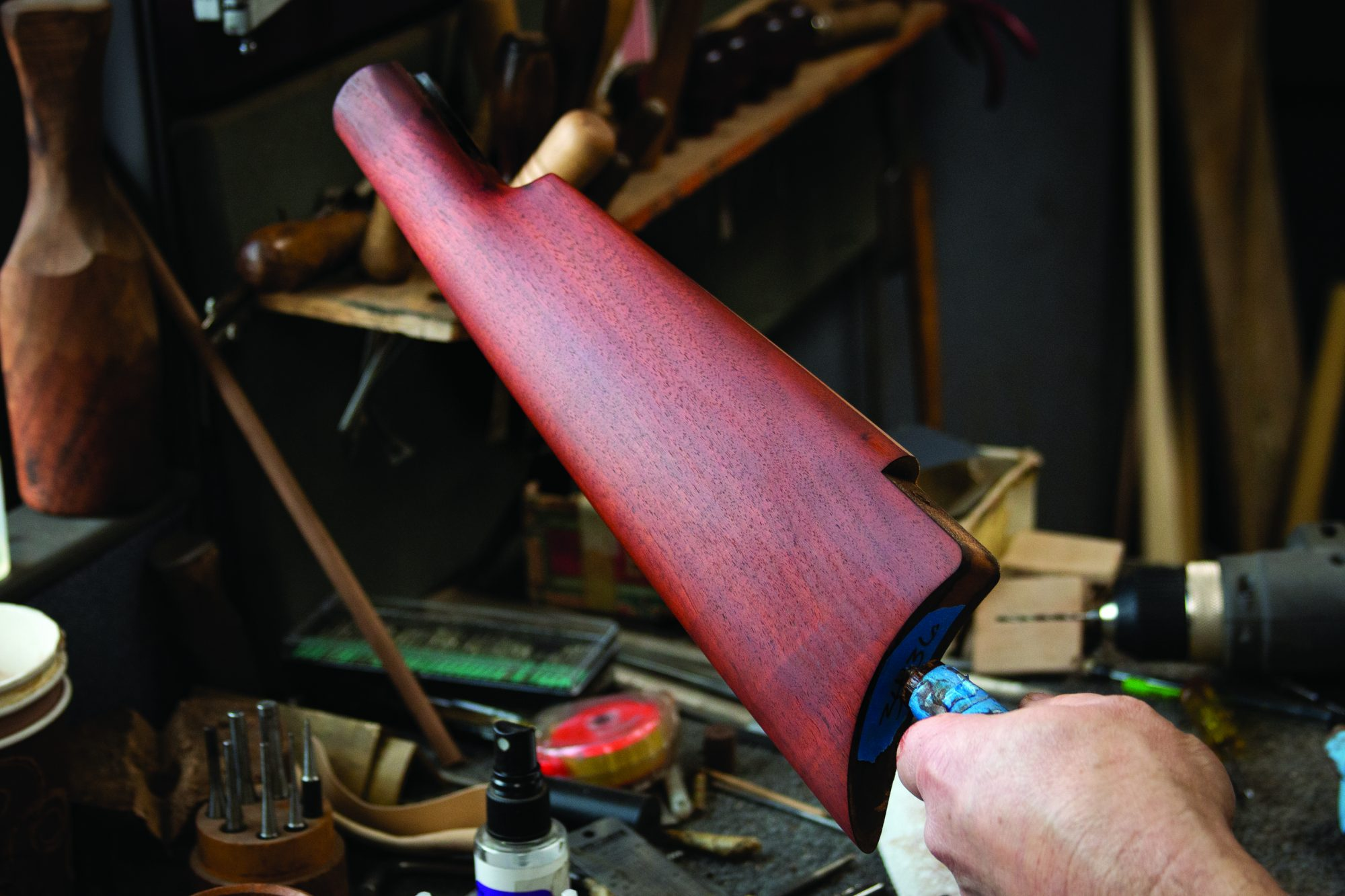 Photo of a Winchester Model 1885 single shot rifle, during restoration by Turnbull Restoration Co. of Bloomfield, NY