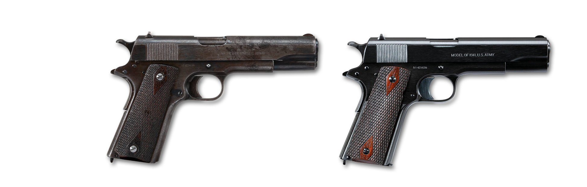 Photo of a Colt Super Match .38 Super Automatic pistol, both before and after restoration by Turnbull Restoration of Bloomfield, NY