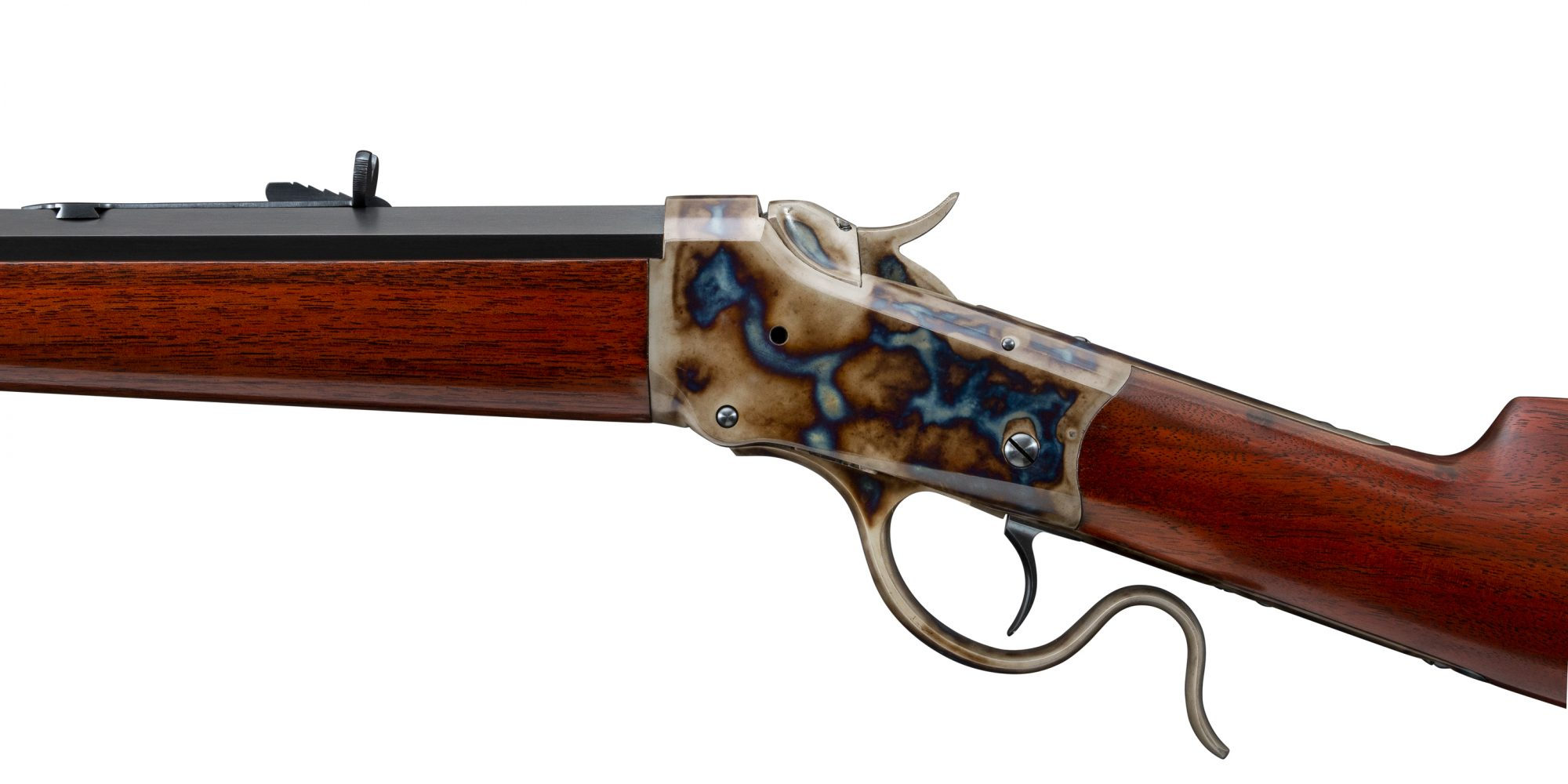 Photo of a Winchester Model 1885 single shot rifle, after restoration by Turnbull Restoration Co. of Bloomfield, NY