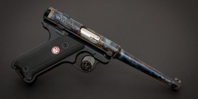 Photo of a color case hardened Ruger Mark IV Standard pistol, featuring bone charcoal color case hardening by Turnbull Restoration of Bloomfield, NY