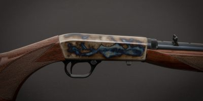 Photo of a color case hardened Browning SA-22 rifle, featuring bone charcoal color case hardening by Turnbull Restoration of Bloomfield, NY