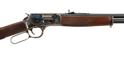 Photo of a color case hardened Henry Big Boy Steel Side Gate rifle, featuring bone charcoal color case hardening by Turnbull Restoration of Bloomfield, NY