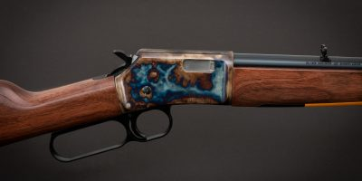 Photo of a color case hardened Browning BL-22 rifle, featuring bone charcoal color case hardening by Turnbull Restoration of Bloomfield, NY