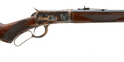 Photo of a color case hardened Winchester 1892 Trapper Takedown rifle, featuring bone charcoal color case hardening, charcoal bluing and rust bluing by Turnbull Restoration of Bloomfield, NY