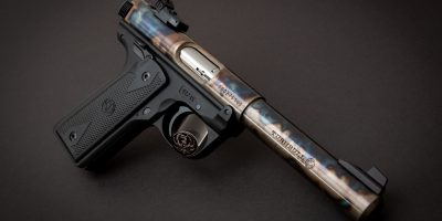 Photo of a color case hardened Ruger Mark IV 22/45 pistol, featuring bone charcoal color case hardening by Turnbull Restoration of Bloomfield, NY